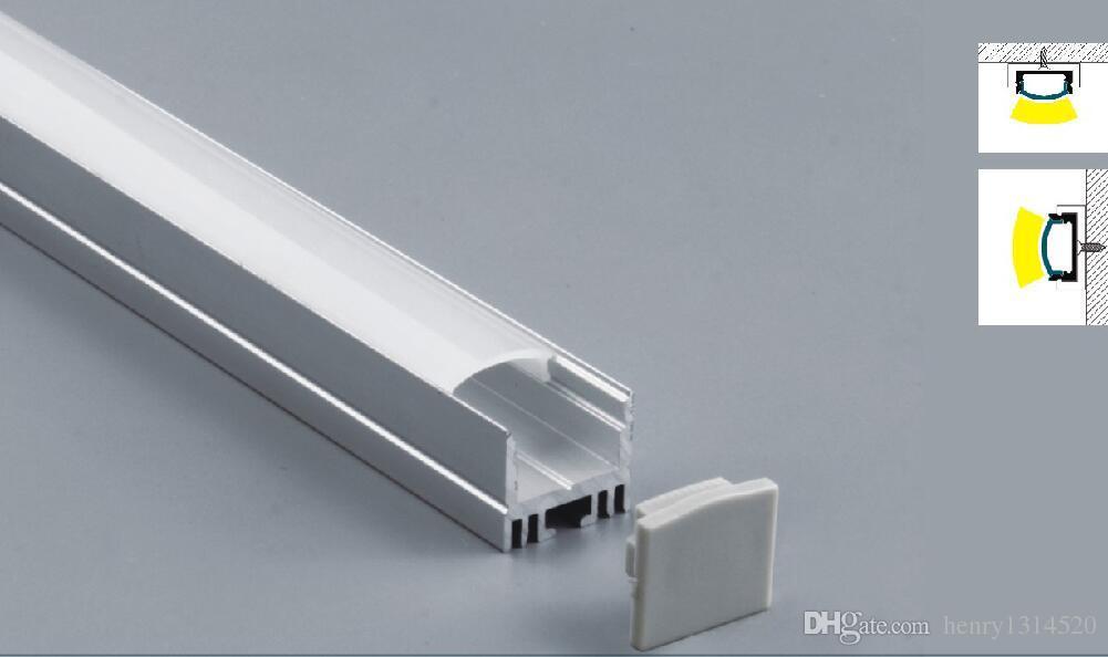 Freies Verschiffen-heißes verkaufendes 2000mmX17mmX15mm 2M langes LED Aluminiumprofil anodisierte silberne Farbe mit PC-Abdeckung für flexible oder harte LED-Streifen
