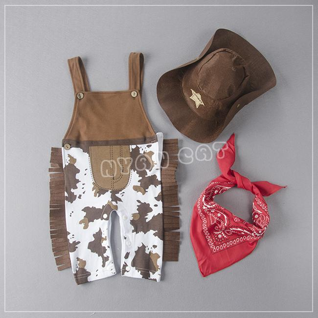 Summer Toddler Baby Boys Classic Cowboy Modelling Suspender Trousers +Caps+Scarf Sets Children Jumpsuits Kids Clothing Suits