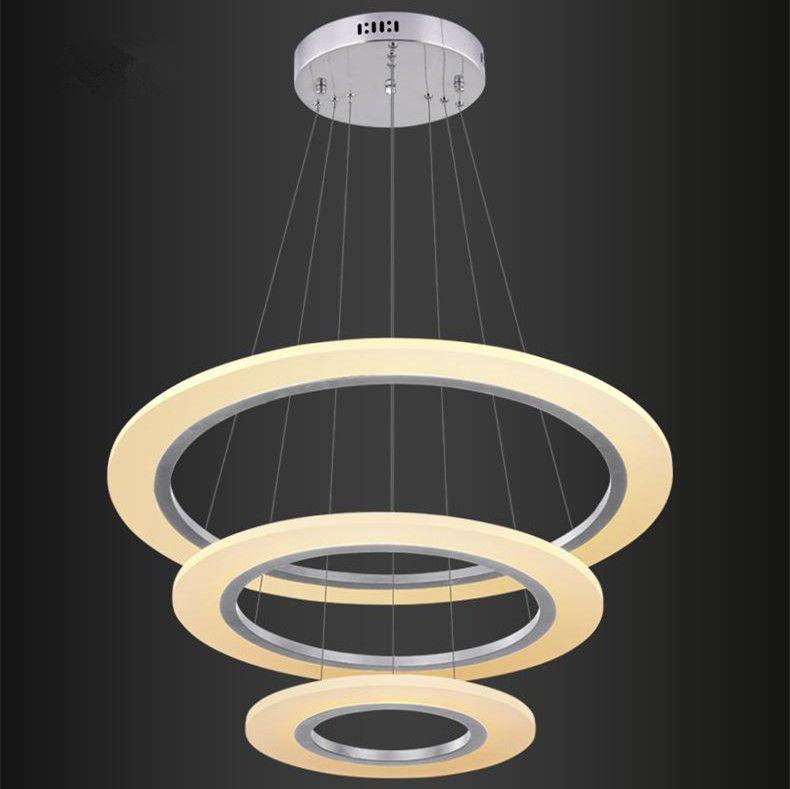 Luxury Modern Chandelier LED Circle Chandelier Lights for Living Room Cristal Lustre Chandelier Lighting White Acrylic Pendant Lamp 110V 220