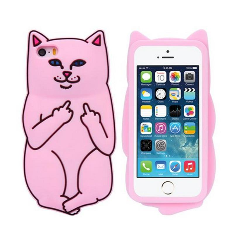 3D Soft Silicon Cat Case Middle Finger pocket Cartoon Animals Rubbe silicone Cover For iPhone 5S 4 6 6s iPhone6 Plus 7 7S