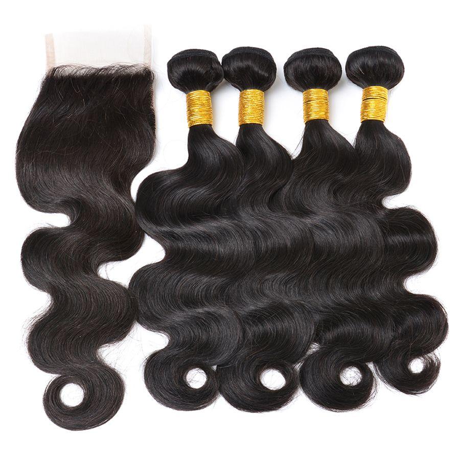 8A Péruvienne Vierge Cheveux Humains Vague de Corps Bundles Avec Pièce 4x4 Fermeture Cheveux Weaves Avec Top Dentelle Fermeture Extensions de Cheveux