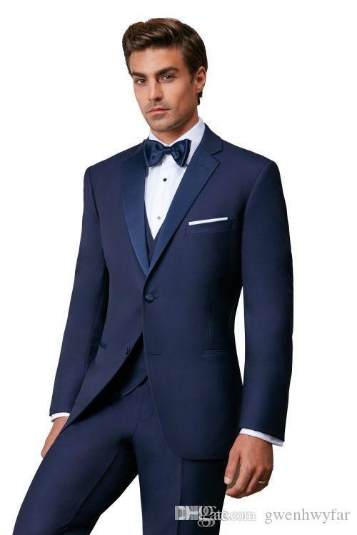 Son Tasarım Iki Düğme Mavi Damat Smokin Groomsmen Notch Yaka Best Man Suits Mens Düğün Blazer Suits Ceket + Pantolon + Yelek