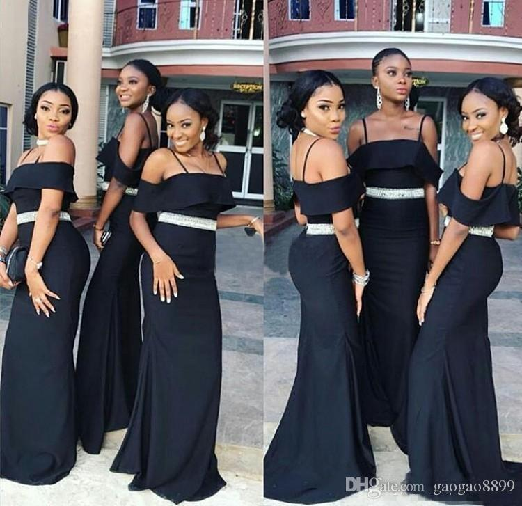 2019 Black Long Cheap Bridesmaid Dresses Spaghetti Crystals Belt Mermaid Wedding Guest Gowns Maid of Honor Party Dress Plus Size