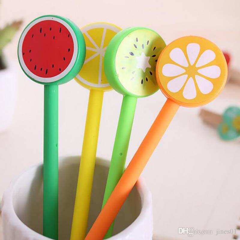 New 20 pcs/lot Fruit Lollipops Gel Pen Watermelon Lemon 0.5mm Black ink For Students Gift Stationery Office School Supplies