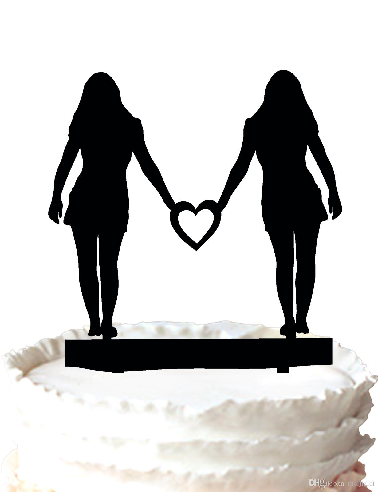 2019 Lesbian Wedding Cake Topper Two Women With A Heart