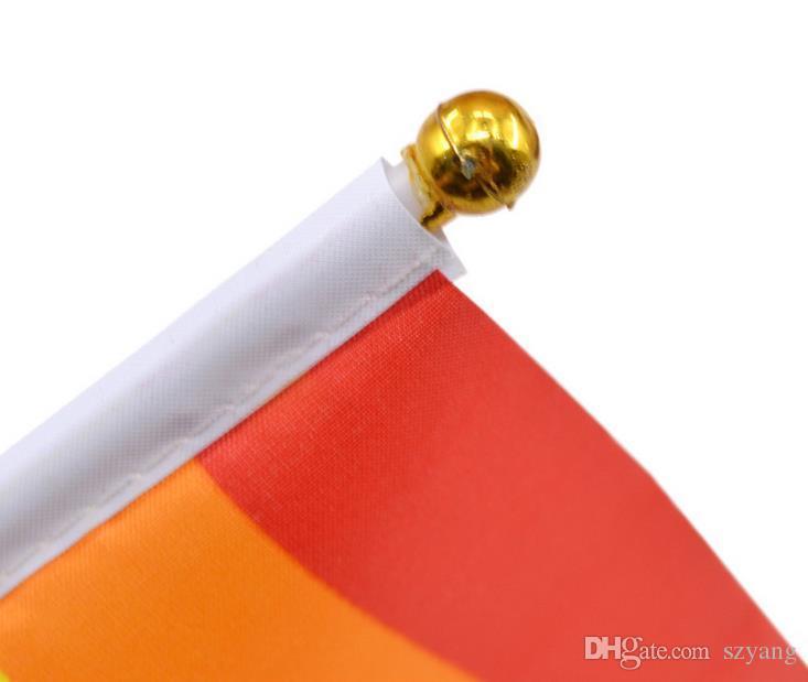 500шт ручная волна Радуга флаг гей полиэстер красочные гордость баннер мира прямоугольные 14 х 21 см