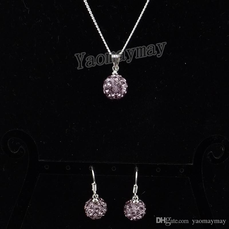 10mm Light Purple Disco Ball Pendant Earrings And Necklace Crystal Jewellery Set Wholesale
