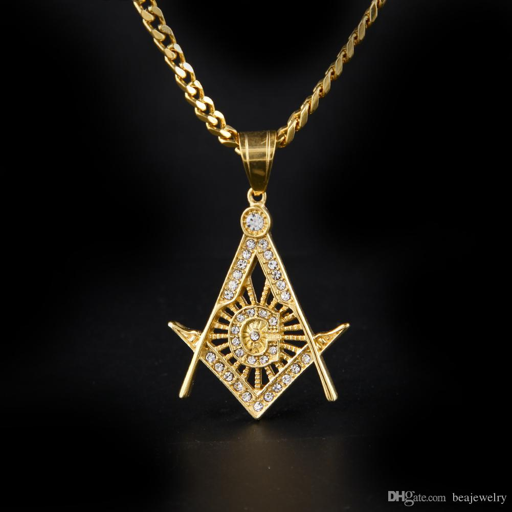 Wholesale hip hop gold plated masonic charm pendant iced out crystal wholesale hip hop gold plated masonic charm pendant iced out crystal stainless steel silver tone freemason pendant necklace collar chain diamond necklace aloadofball Gallery