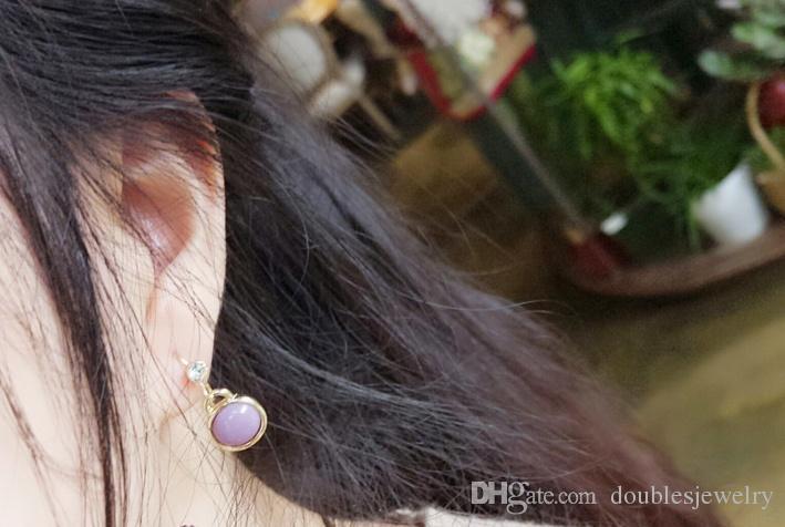 Europa i Stany Zjednoczone Popularne Boutique Diament Vintage Pearl Double Gemstone Kolczyki Kolczyki Kobiet Miłość