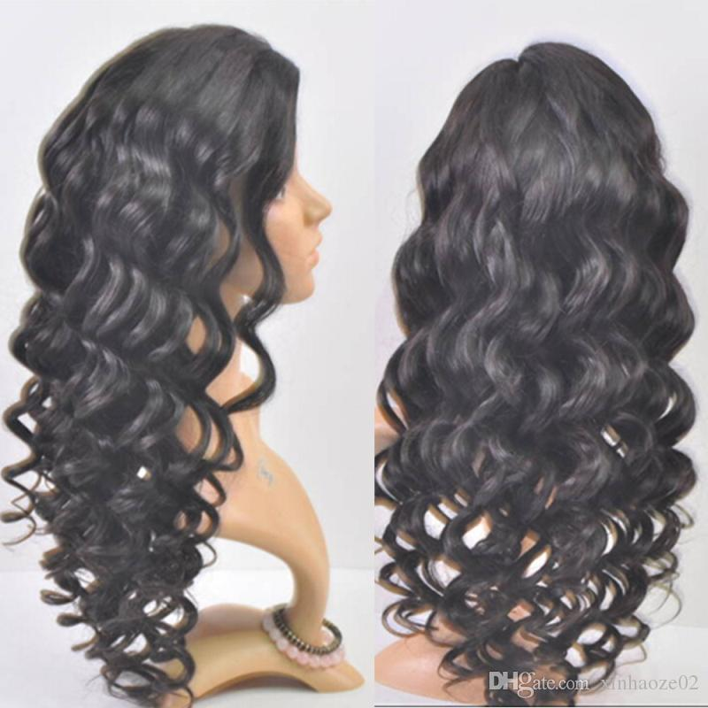 Super Wave high Density Indian Full Lace Wigs 100% Human Hair Wigs with Bleached Knots For Black Women Lace Front Wig
