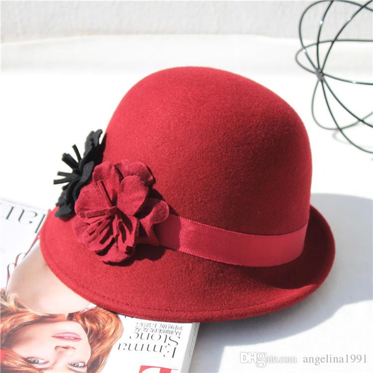 Mode femmes chapeaux de laine élégant bowler derby trilby feuilles bowknot fedoras filles feutre chapeau vintage chapeaux pour les femmes sun caps haut-de-forme