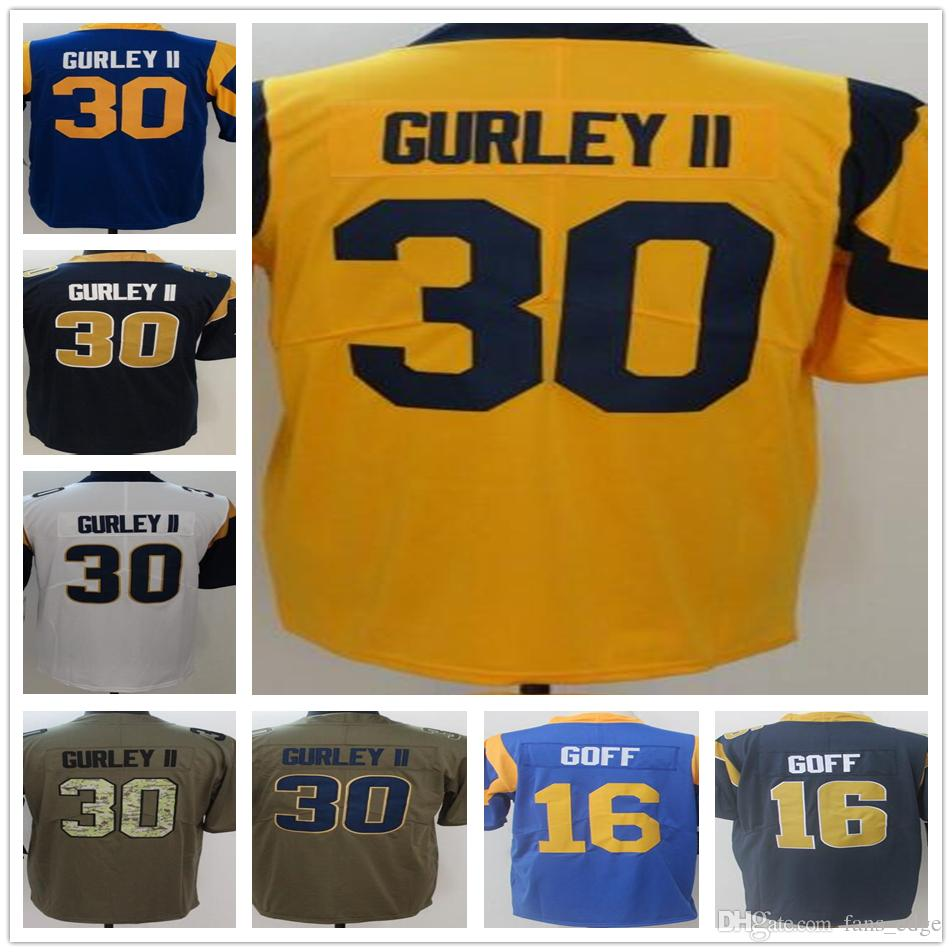 brand new eec5c 85980 2018 New Style Cheap Mens #30 Todd Gurley II Jersey Blue White Yellow #16  Jared Goff The Vapor Untouchable Color Rush Legend Jerseys