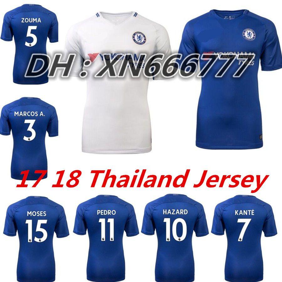 ... Chelsea Soccer Jersey 2017 2018 Home Blue White Willian HAZARD Pedro  DIEGO COSTA KANTE WILLIAN DAVID ... 20239e196