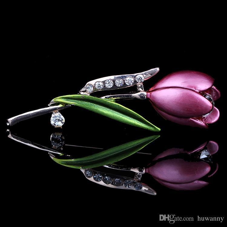 الذهب دبابيس دبابيس المجوهرات لفتاة هدية الساخن بيع حجر الراين توليب زهرة بروش شال السيدات فستان الزفاف مشبك شحن مجاني 0396WH