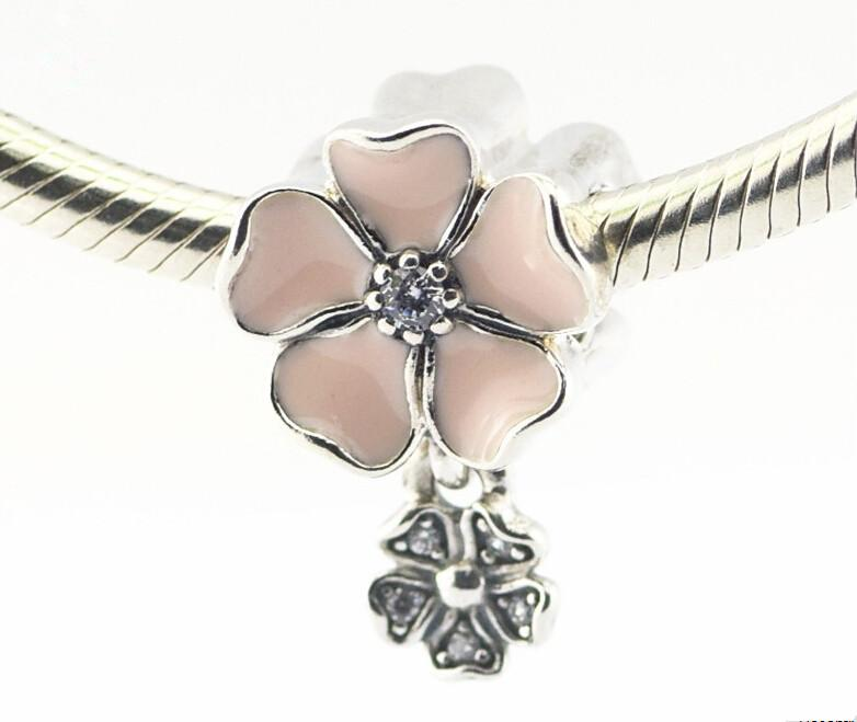 Pandora rose poétique fleurs émail fleur charmes 925 en argent sterling lâche perles pour fil bracelet fashon bijoux authentique