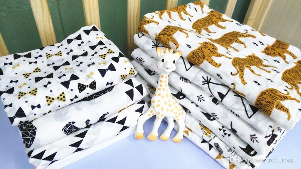 Le plus récent 2020 bébé Coton Muslin Swaddle Wrap 18 styles avec panda dessin animé boîte imprimé renard couverture du nouveau-né Swaddle Serviette 120x120cm