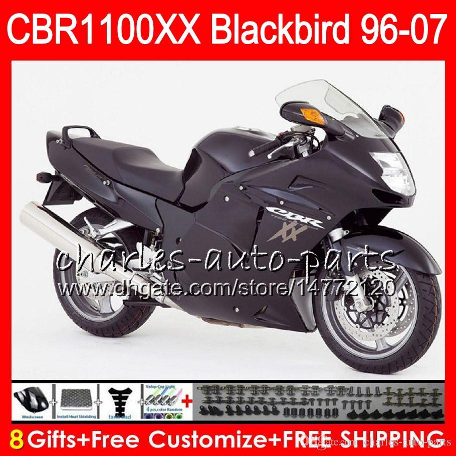 Body For HONDA Blackbird Matte Black CBR1100 XX CBR1100XX 96 97 98 99 00 01 81NO27 CBR 1100 1100XX 1996 1997 1998 1999 2000 2001 Fairing Motorcycle
