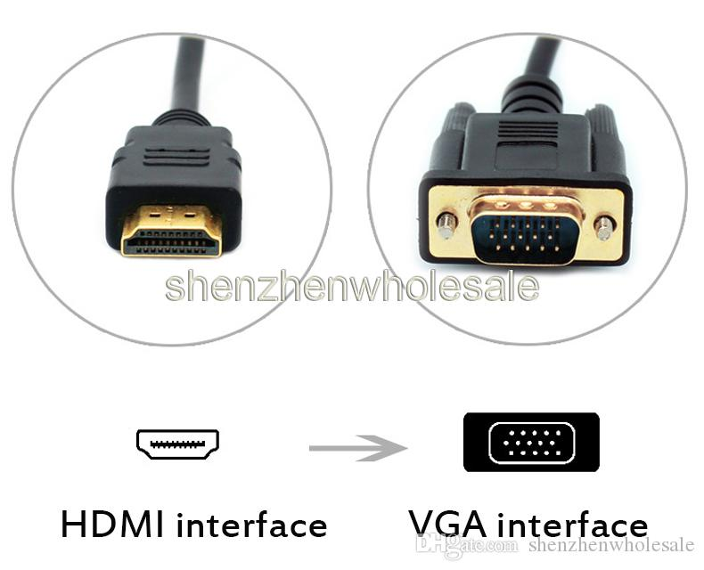 6FT 1.8M HDMI To VGA Cable male 6 ft 1.8M Gold HDTV HDMI to VGA Male HD15 Adapter Cable For PC TV DF