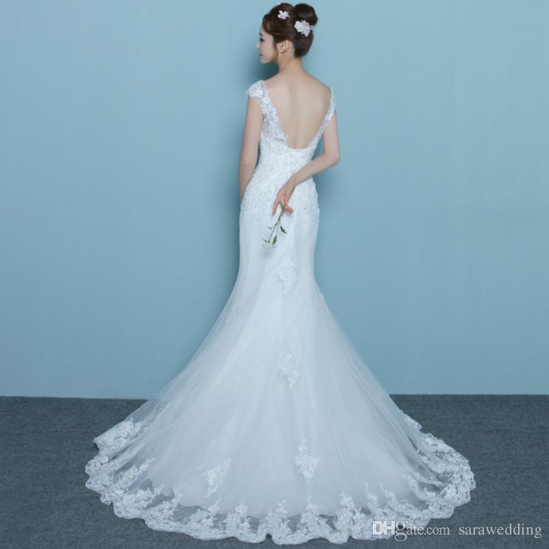 Mangas curtas rendas tule sereia vestido de noiva com gola redonda 2018 vestidos de noiva romântico rendas até