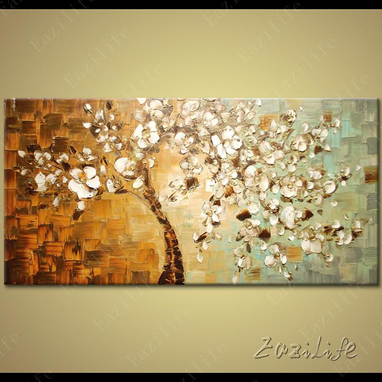 Tree Hand Painted Palette Knife 3D Texture Flower Canvas Oil ...