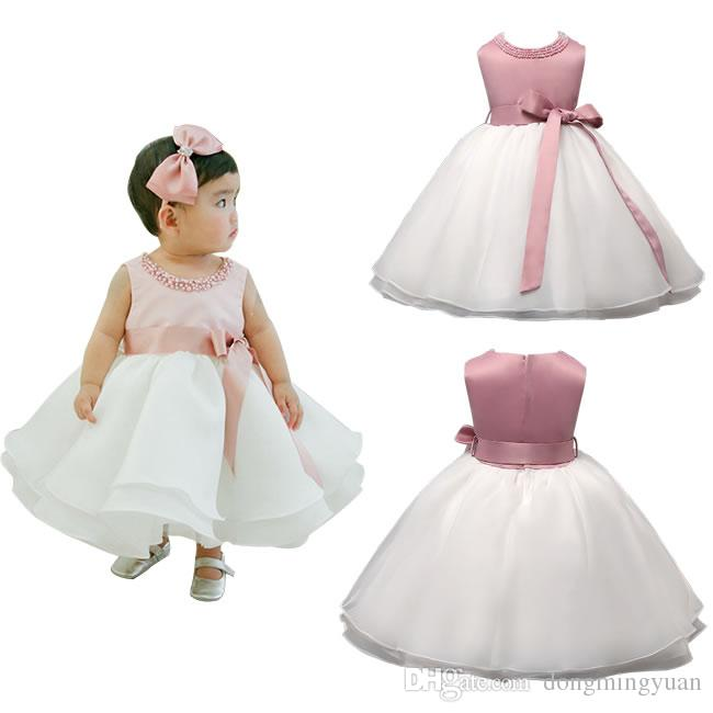 033476ea060d6 Flower Girl Baby Christening Dresses Clothing Fashion Toddler Infant White  Baptism Bow Party Wedding Frocks Christmas Birthday Clothes