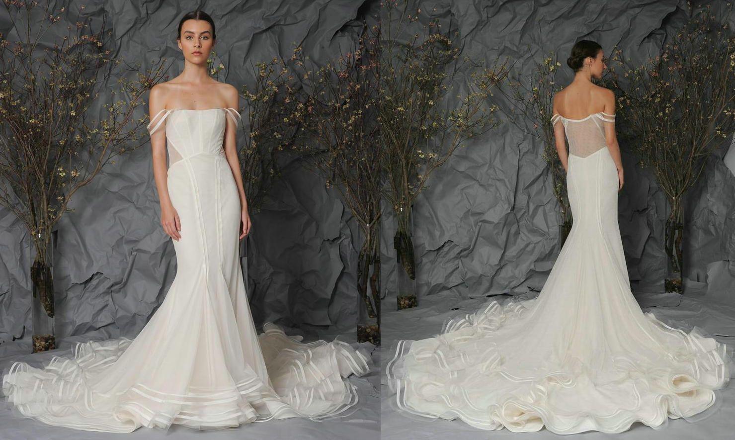 2016 Wedding Dresses With Stripe Mermaid Strapless Sheer