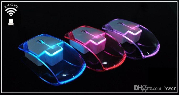 Ultradünne transparente bunte helle Maus, die 2.4G drahtlose Mäuse ausgibt, beleuchten Computer-Laptop Mehrfarben, die leuchtende Maus ändern