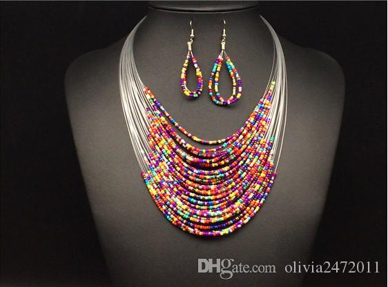 Los conjuntos de joyería vintage más nuevos de moda Joker Bohemian Multicapa Colorido Africa Beads Collar llamativo Pendientes Set KX