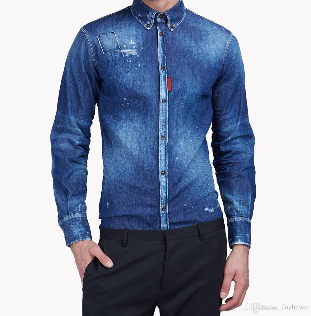 aeb80613e1d 2019 Men Lightly Distressed Denim Shirt Button Down Shirt Cut Slim Fit  Panels Accentuated The Classic Neckline And Button Down Closing From  Fozhewo