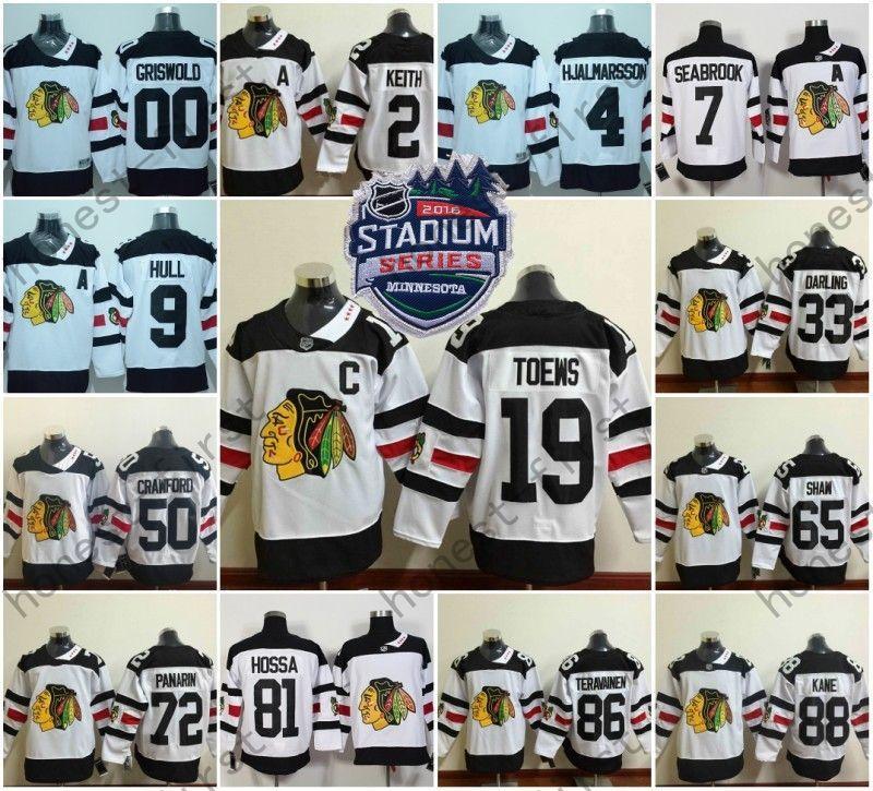 12363e9b55c ... White 2016 Chicago Blackhawks Stadium Series Hockey Jersey 88 Patrick  Kane 19 Jonathan Toews 2 Duncan ...