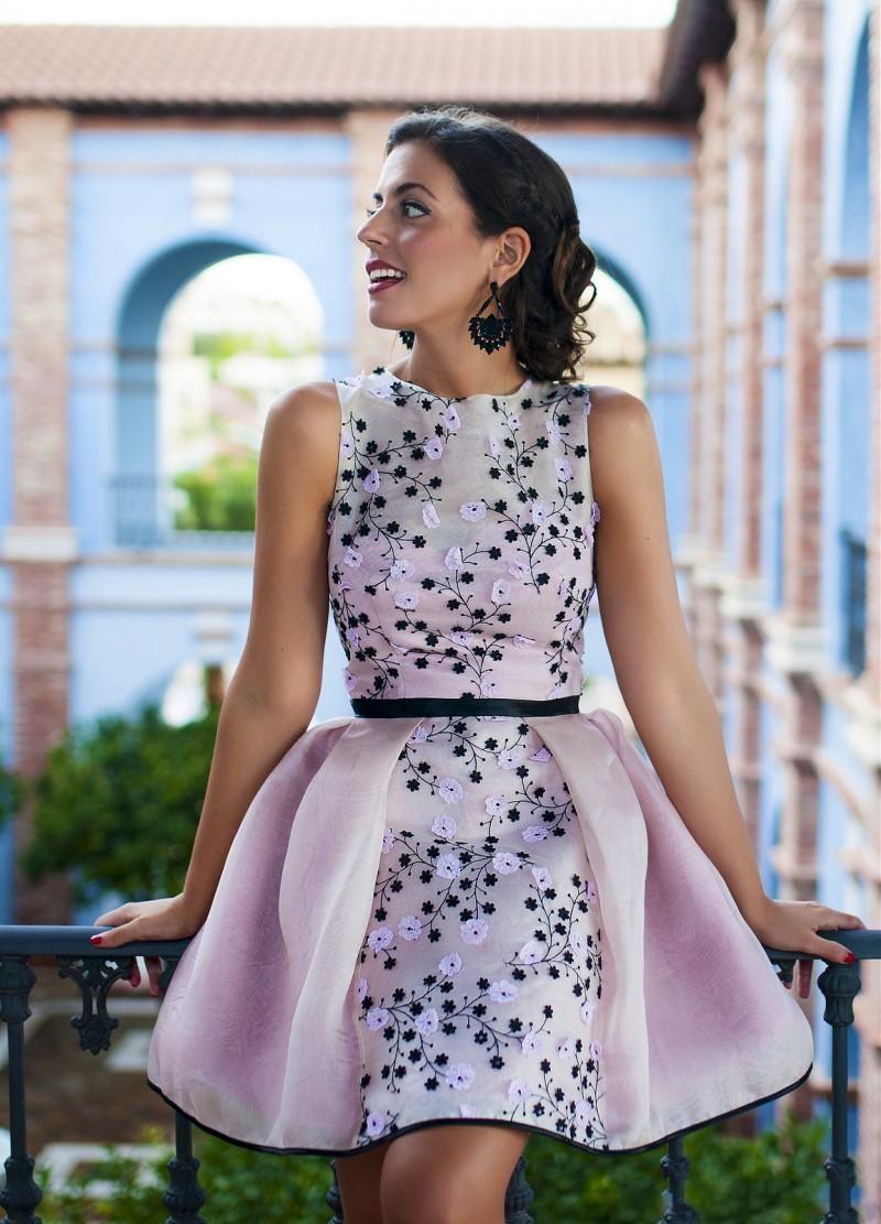 Romantique Emborideroy Courte Robes de bal Roses Organza Party Robes Sexy 2016 Junior Robes de bal Custom Made