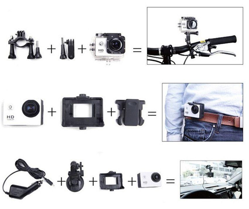 SJ4000 액션 카메라 깊은 방수 2 인치 LCD 화면 프리 스타일 1080P 풀 HD 캠코더 SJCAM 헬멧 DV 30M 스포츠 레코더
