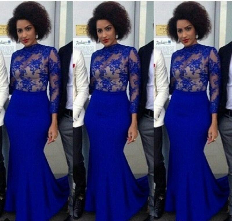 Royal Blue Arabic Dresses Evening Wear Jewel Sheer Neck Long ...