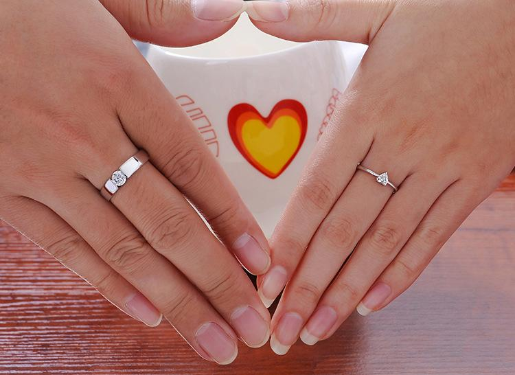 Heart Rings High Quality Love Charm Finger Jewelry 925 Sterling Silver White Gold Plated 1CT Swiss Diamond Rings For Women