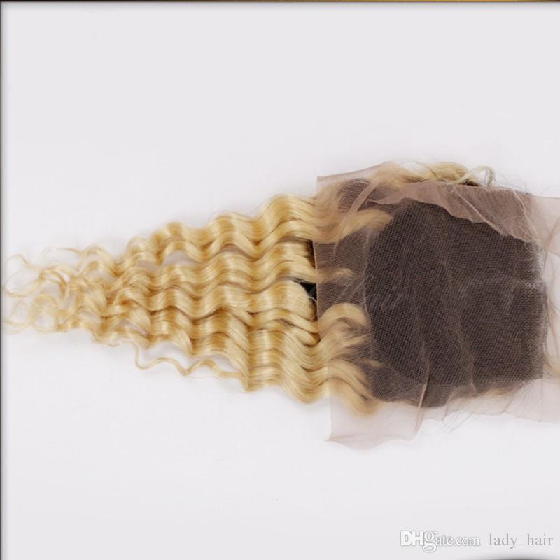 9A 버진 브라질 깊은 곱슬 웨이브 Ombre 3Bundure T # 1B / 613 컬리 헤어 폐쇄 짙은 뿌리 금발 머리카락을 닫습니다.