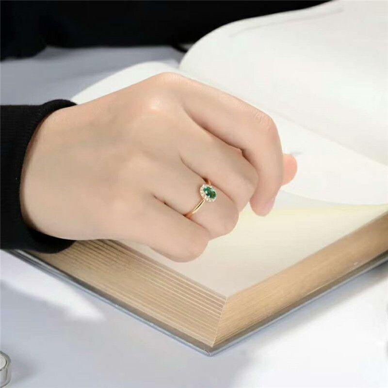 Nova marca de Prata Esterlina 925 com 18KT Banhado A Ouro e Natural Verde Anel Esmeralda Genuine Gemstone Moda Jóias para As Mulheres Do Partido Do Casamento