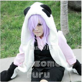Ücretsiz kargo! Yeni Un-Go Inga Brack Cosplay Kostüm - Eldiven + Peluş Kuyruk ile Panda Peluş Şapka