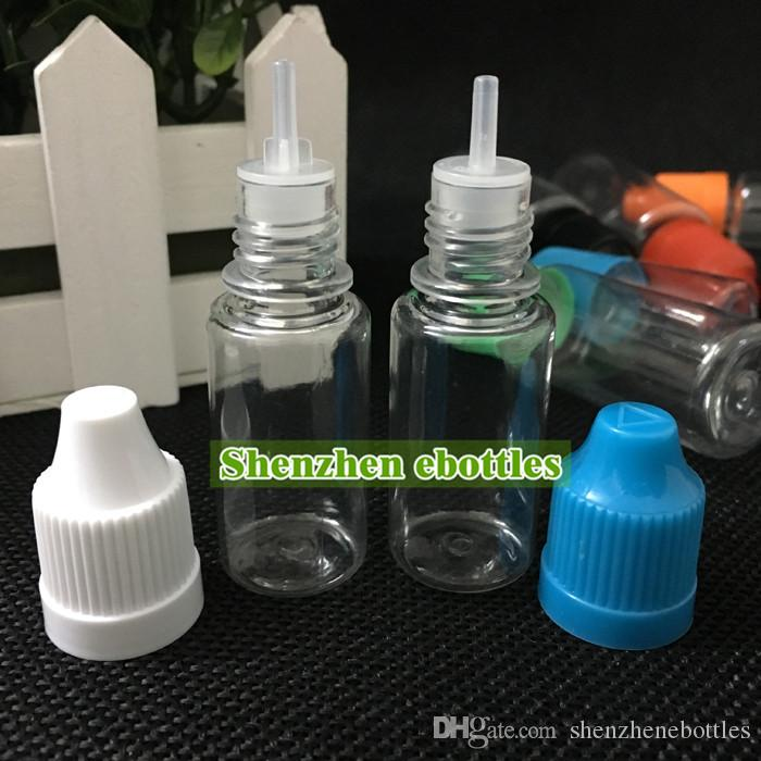 Envío gratis 10 ml botella de gotero de mascota E Botella de líquido Botella de gotero de plástico con tapa a prueba de niños y punta larga y delgada para e jugo