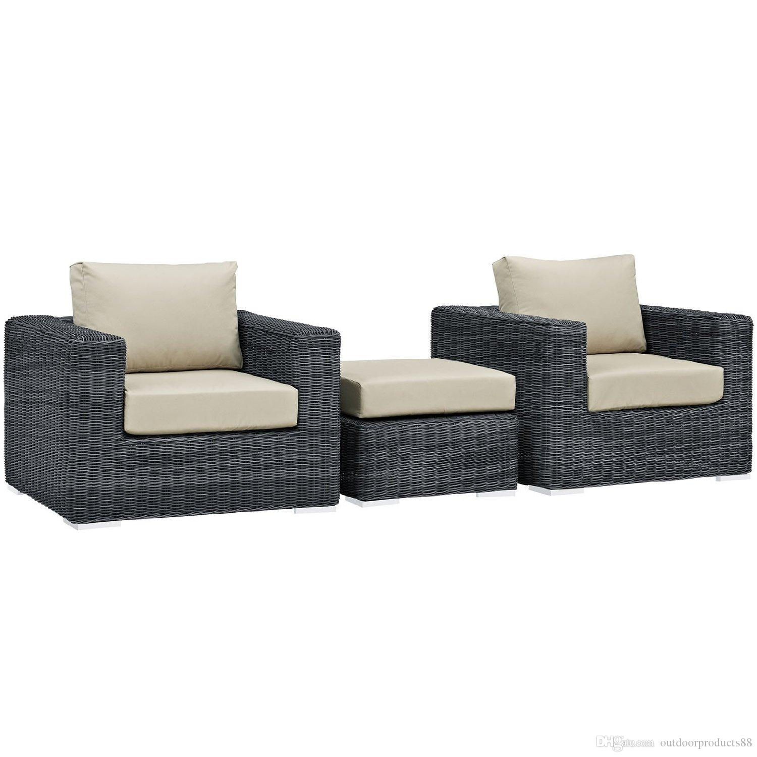 2017 Modern Contemporary Three Pcs Outdoor Patio Sectional Set Beige Fabric Synthetic RattanOutdoor Patio Wicker Rattan Sectional Sofa Chair From ...  sc 1 st  DHgate.com : rattan sectional sofa - Sectionals, Sofas & Couches