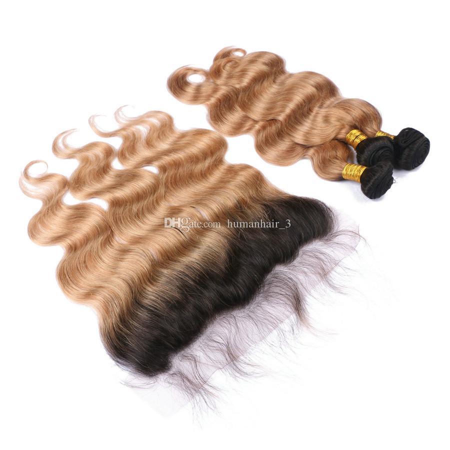 Honey Blonde Lace Frontal z wiązkami # 27 Truskawka Blondynka Ludzki Włosy Wefts z 13 * 4 Koronki Frontal Zamknięcie 4 sztuk / partia Plątanina Bezpłatnie
