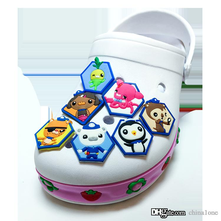 Octonauts PVC Cartoon Shoe Charms Ornaments Buckles Fit for Shoes & Bracelets ,Charm Decoration,Shoe Accessories Party Gift