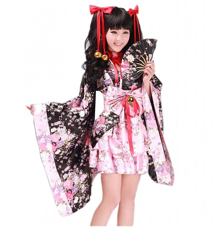 Compre Vestido De Cosplay De Geisha Kimono Lolita Estilo Japonés De ...