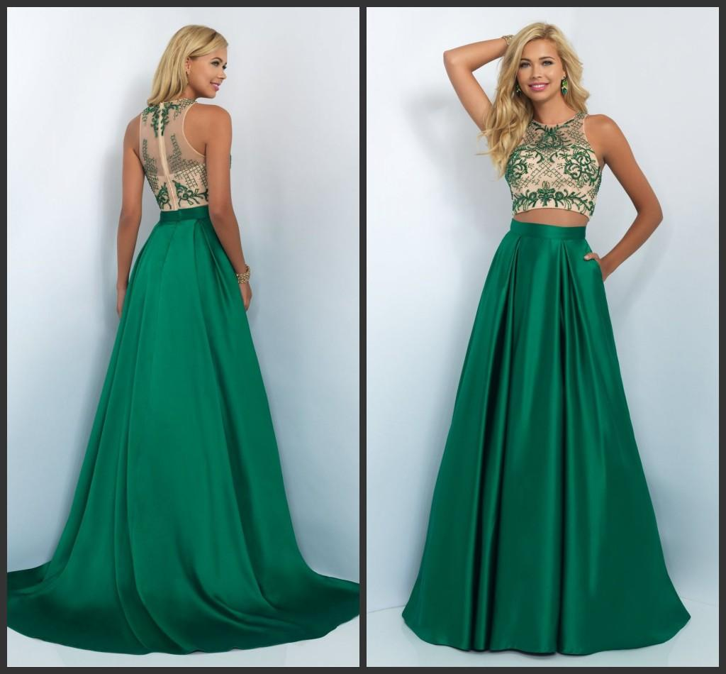 Blush Emerald Long Two Pieces Prom Party Dresses Eg 2016 Sleeveless ...