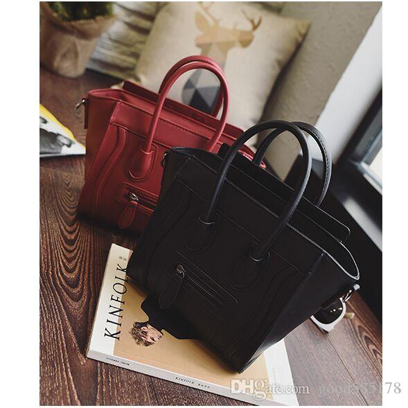 b77870bd46ae Trapeze Smiley Tote Bag Luxury Brand Pu Leather Women Handbag Shoulder Bag  Famous Designer Crossbody Bags Sac