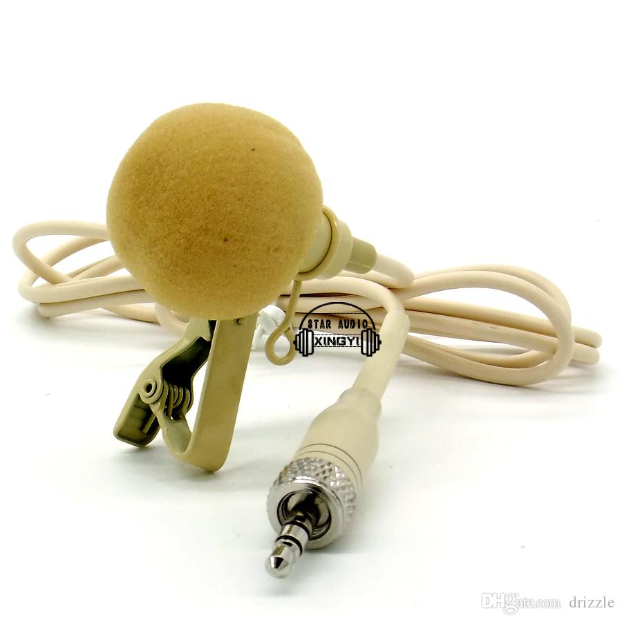 Beige Screw Thread Lock 3.5mm Jack Stereo Plug Lapel Tie Clip Mic Lavalier Microphone For Wireless System BodyPack Transmitter
