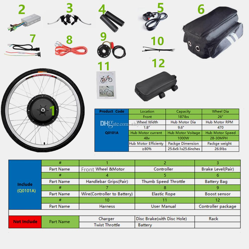 "26""x1.8"" Front Wheel Electric Bicycle Motor Kit 48V 1000W Powerful Motor E-Bike Conversion w/ LCD Display"