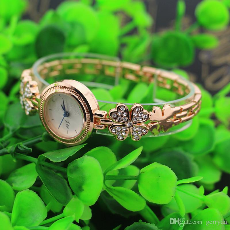 Бесплатная доставка! Цветок с горный хрусталь дизайн металлическая полоса, золотая пластина круглый чехол, JW мода женщина леди кварцевый браслет часы