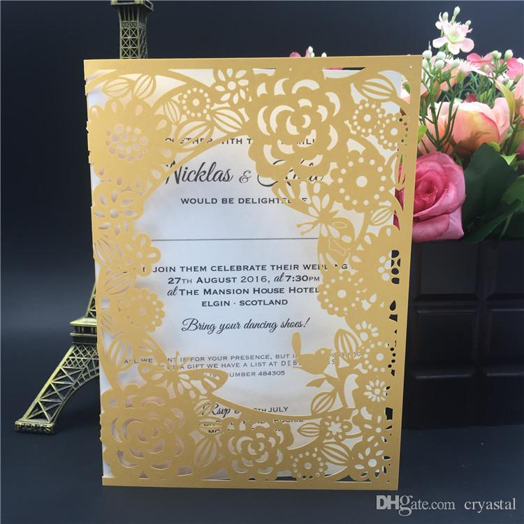 2016 Suministros para fiestas Tarjetas de felicitación hechas a mano con corte láser Boda / Negocios / Fiesta / Cumpleaños Tarjetas de invitación con páginas interiores Envío gratis