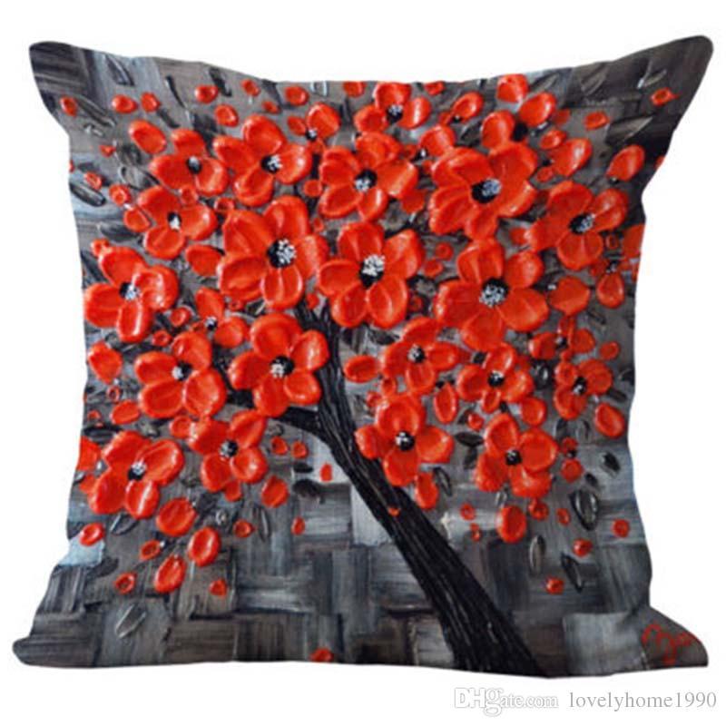 Floral Baumwolle Leinen Kissen Fall Taille zurück werfen Kissenbezug Startseite Sofa Decor # 1