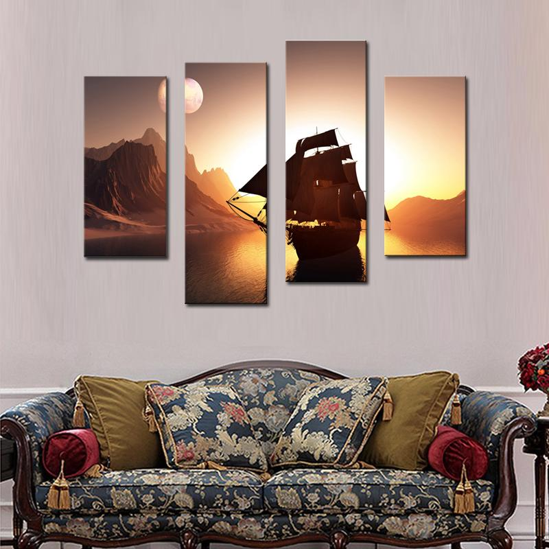 Amosi Art-Sailing Ship On Water And Around Mountain Wall Art Painting Picture On Canvas Print For Home Decor Wooden Framed